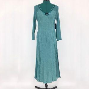 Komarov 3/4 Sleeve Long Teal V-neck Dress, Medium